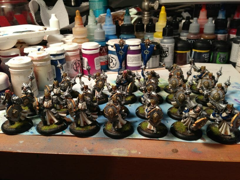 Batch Painting Miniatures (Tips and Tutorial) - how to assembly line paint models for warhammer 40k and board games - warmachine cygnar precursor knights