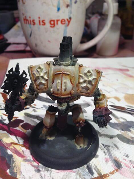 Menoth Crusader Warjack: Quick n' Dirty Paint Job - how to paint a menoth warjack - painting the crusader menoth miniature - warmachine painting - painting warmachine models for menoth - layering up primary color
