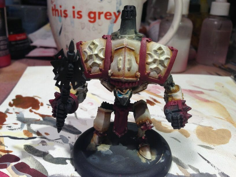 Menoth Crusader Warjack: Quick n' Dirty Paint Job - how to paint a menoth warjack - painting the crusader menoth miniature - warmachine painting - painting warmachine models for menoth - subtle highlights added