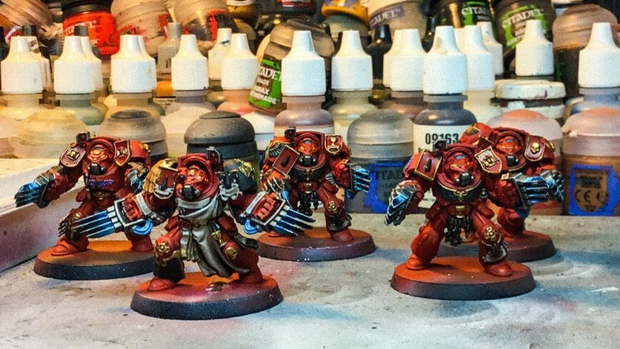 Bloody Motivation in Miniature Painting - action before motivation in painting miniatures - how to stay motivated for modeling and hobbies - sports - Painting blood angel space marines for warhammer 40k - terminators - nearly completed wip