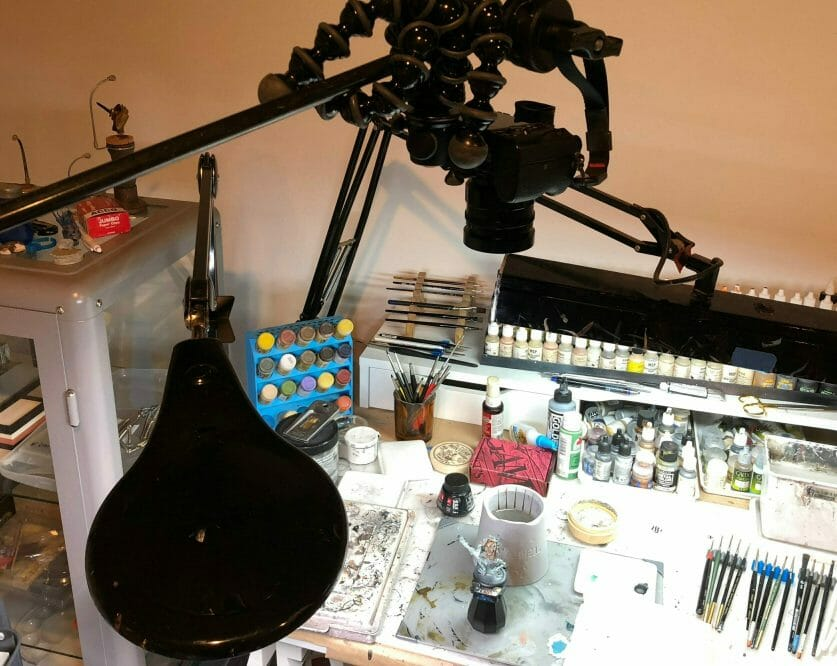Camera Setup for Videography (Miniature Painting) - Grymkin Rattler - how to film youtube videos of painting miniatures - how do I film myself painting miniatures
