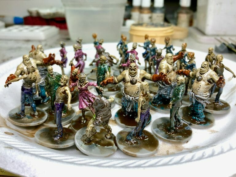 Tips to Painting Horde Armies (Tricks, Tools!) - board game zombie painted with dipping method using army painter quickshade