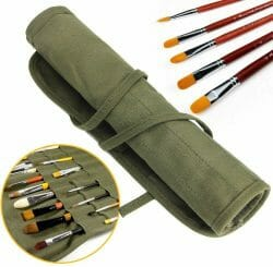 Paint brush roll up for storing and carrying brushes - best roll up brush storage options - green canvas rollup