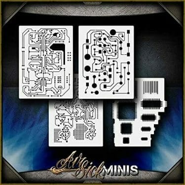 Awesome airbrush stencils for painting miniatures and tabletop wargame models  - airbrush RC cars, warhammer 40k vehicles, tanks and historical models - freehand logos and add custom decals with an airbrush easy - Check out some of the mini stencils! - computer circuit stencils