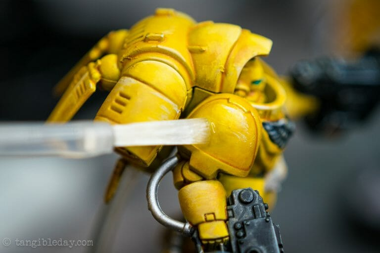 How-to Apply Warhammer Space Marine Decals (Tips) - How to use wet slide decals on miniatures and scale models - brushing on revell decal mark fit solution