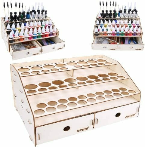 15 Useful Hobby Paint Storage Racks and Organizers. Recommended hobby paint storage, miniature painting station organizer. How to storage Vallejo army painter dropper bottles or Warhammer Citadel paint pots. Best paint display racks for miniature and model painters. Ophir wooden paint rack stand tool storage.