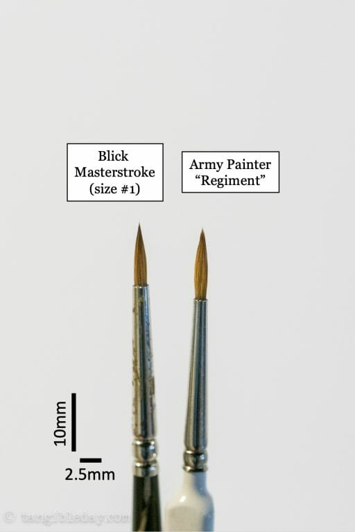 """The Army Painter Wargamer """"Regiment"""" Brush Review for Miniatures - Brush Review of the Army Painter Wargamer Regiment for Painting Miniatures and Models - Regiment Brush Review for miniature painting - Best Army Painter brush for miniatures and models - Regiment brush for painting warhammer 40k and other tabletop wargaming miniatures - blick regiment with scale bar"""