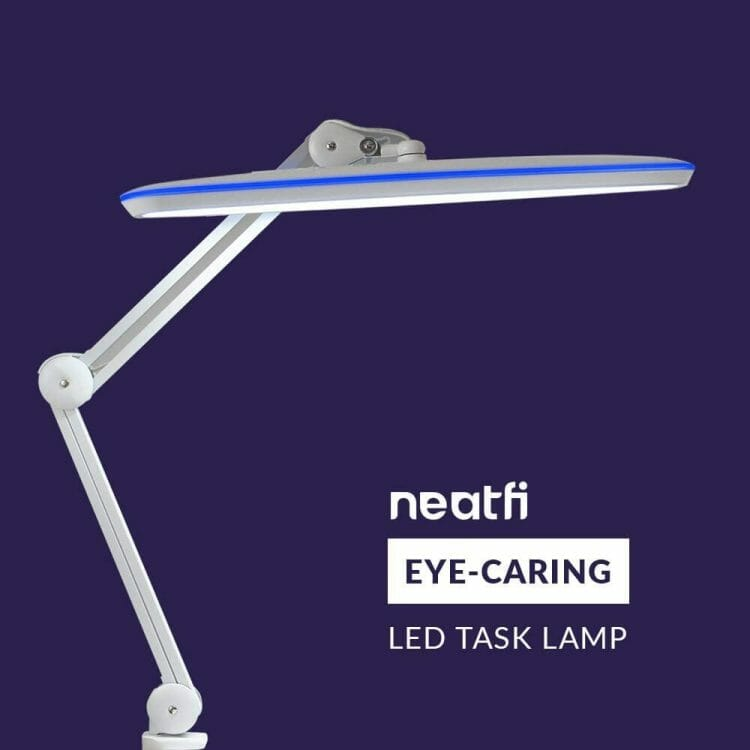 Review of one of the best hobby desk lamp for painting minis and miniatures. Overview of the Neatfi XL task lamp for hobby and craft work. Recommended lights for miniature painters. Neatfi lamps have eye-caring light sources for low eye fatigue and stress. Check out the review for the Neatfi XL LED daylight spectrum hobby lamp.