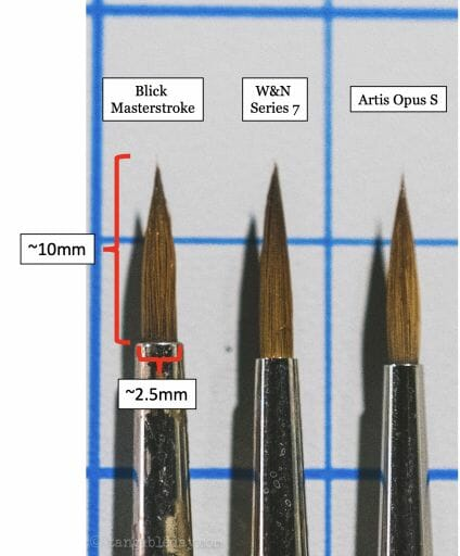 Best Alternative to Winsor & Newton Series 7 Brushes for Painting Miniatures - cheap sable kolinsky sable brushes for painting miniatures - good budget brushes for painting miniatures - w&n series 7 blick artis opus close up bristles labeled scaled