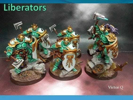 Stormcast Eternal Paint Schemes - 9 Color Motifs - how to paint stormcast eternals - color schemes for stormcast eternals, liberators, celestants, and other Age of Sigmar models from the Stormcast Eternal range - 9 color schemes for Stormcast Eternal models and miniatures from Citadel Games Workshop - stormcast liberators in green white armor