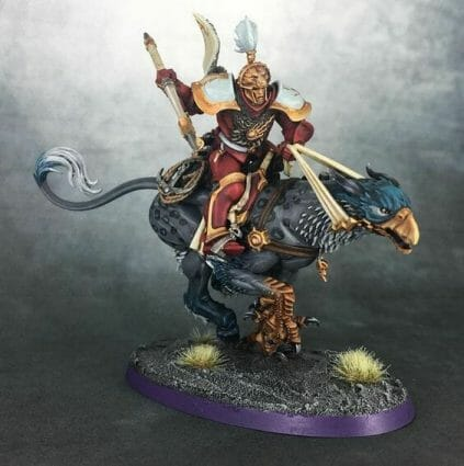 Stormcast Eternal Paint Schemes - 9 Color Motifs - how to paint stormcast eternals - color schemes for stormcast eternals, liberators, celestants, and other Age of Sigmar models from the Stormcast Eternal range - 9 color schemes for Stormcast Eternal models and miniatures from Citadel Games Workshop - Gryph rider with red stormcast armor