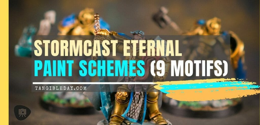 Stormcast Eternal Paint Schemes - 9 Color Motifs - how to paint stormcast eternals - color schemes for stormcast eternals, liberators, celestants, and other Age of Sigmar models from the Stormcast Eternal range - 9 color schemes for Stormcast Eternal models and miniatures from Citadel Games Workshop - Banner header image