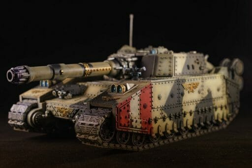best oil paints for miniatures and models - oil paints for miniature painting and washes – how to use oil washes and filters for scale models – oil paint for painting miniatures - tutorial miniature painting with oils - 40k astra militarum shadowsword or baneblade tank with oil paint filter and wash applied.