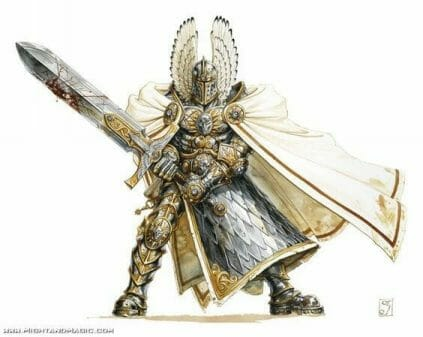 Stormcast Eternal Paint Schemes - 9 Color Motifs - how to paint stormcast eternals - color schemes for stormcast eternals, liberators, celestants, and other Age of Sigmar models from the Stormcast Eternal range - 9 color schemes for Stormcast Eternal models and miniatures from Citadel Games Workshop - Hulking armored white knight with flowing cape.