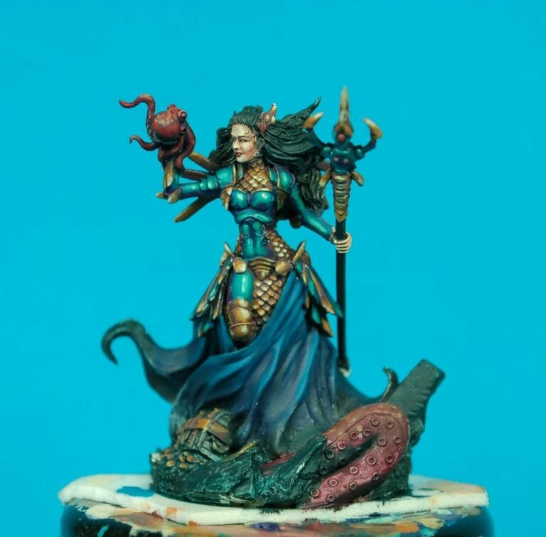 How to paint miniatures competitively – how to paint for competition – painting contest – how to win a painting contest – Marike Reimer miniature painting – interview with Marike Reimer about the Kraken Mistress – how to paint miniatures like a pro – how to paint miniatures professionally – best miniature painting tutorials – base coat applied in blocks like color by number - take a look