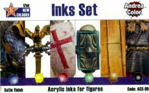 Best 15 inks for painting miniatures and models - citadel wash set - best inks for miniature painting - best inks for models - how to use inks on miniatures - inks for painting miniatures - Andrea Color inks review back of box set