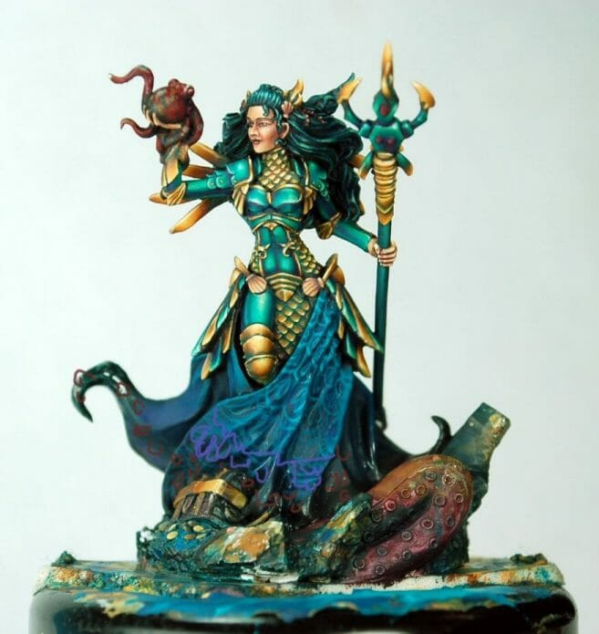How to paint miniatures competitively – how to paint for competition – painting contest – how to win a painting contest – Marike Reimer miniature painting – interview with Marike Reimer about the Kraken Mistress – how to paint miniatures like a pro – how to paint miniatures professionally – best miniature painting tutorials – use digital tools to help freehand design on models