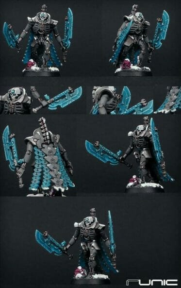Necron Paint Schemes - 9 Color Motifs - how to paint Necrons - color schemes for Necrons, Necron Warriors, Sautekh or Zathanor Dynasty, and Necron dynasties - Indomitus Warhammer 40k Necron range color palette - 9 color schemes for Necron models and miniatures from Citadel Games Workshop - blue blades and cape