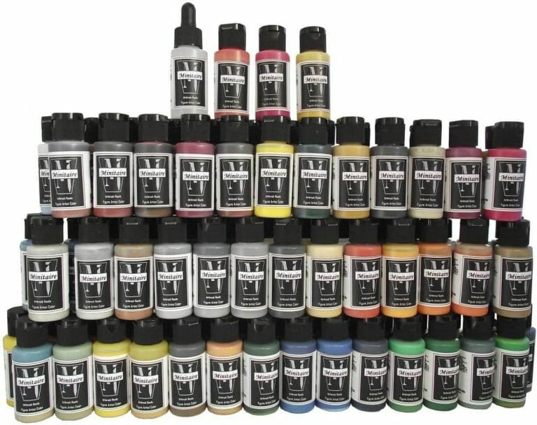 Best airbrush paint for miniatures and models – airbrush paints for models – miniature airbrush paint – review airbrush paint sets for models – citadel airbrush paint – painting multiple models with an airbrush quickly - Badger minitaire paints review for models