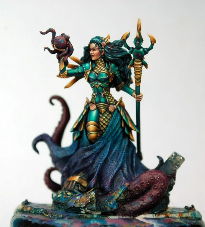 How to paint miniatures competitively – how to paint for competition – painting contest – how to win a painting contest – Marike Reimer miniature painting – interview with Marike Reimer about the Kraken Mistress – how to paint miniatures like a pro – how to paint miniatures professionally – best miniature painting tutorials – freehand design nearly complete