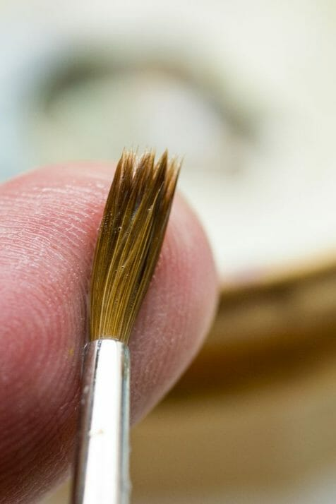 Simple Brush Cleaning Tips and Instructions for Every Miniature Painter - How to clean miniature painting brushes - how to clean kolinsky sable brushes for painting miniatures and models - brush cleaning tips for miniature painters - how to clean brushes for painting miniatures and wargaming models - Brush soap and cleaning use - work the soap into the bristles