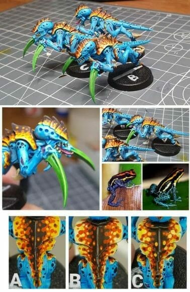 Tyranid color paint schemes – how to paint tyranids – tyranid paint schemes – tyranid army scheme – tyranid color scheme – How to choose Tyranid army color scheme – Tyranid Warhammer 40k colors – Hive fleet color schemes – Hive fleet paint scheme – tropical blue and orange