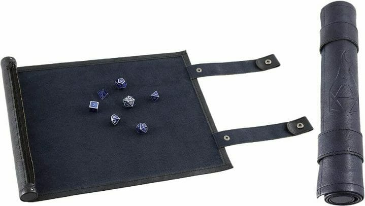 13 Cool Dice Trays for Tabletop Games – best dice trays for wargaming – Warhammer dice tray and storage – best dice tray for Warhammer 40k and miniature games – boardgame dice tray – best dice trays – dice trays for dungeons and dragons, D&D, and roleplaying games (RPG) – Forged Dice Co. Scroll Dice Tray and Rolling Mat