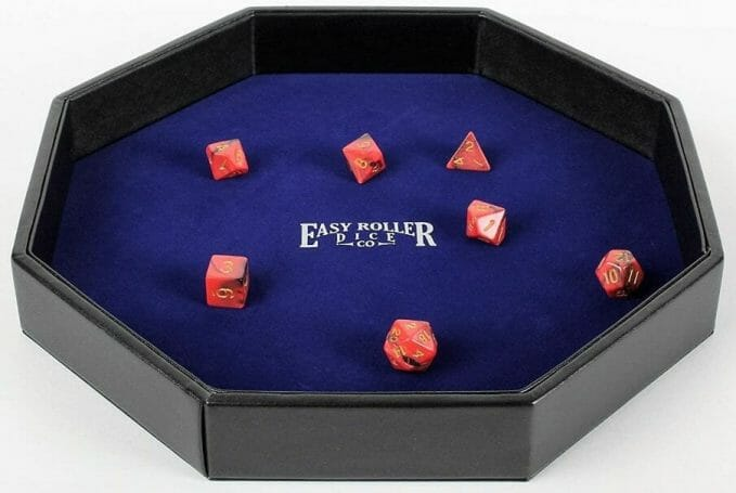 13 Cool Dice Trays for Tabletop Games – best dice trays for wargaming – Warhammer dice tray and storage – best dice tray for Warhammer 40k and miniature games – boardgame dice tray – best dice trays – dice trays for dungeons and dragons, D&D, and roleplaying games (RPG) – Heavy Duty Dice Tray Leatherette and Velvet Rolling Surface