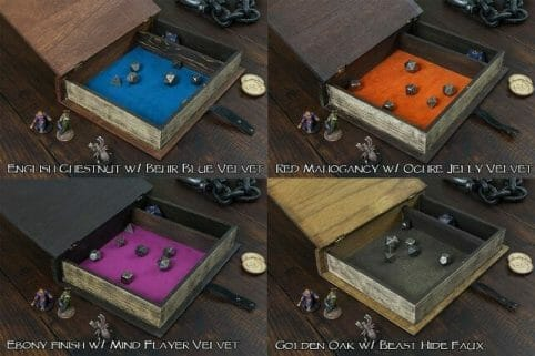 13 Cool Dice Trays for Tabletop Games – best dice trays for wargaming – Warhammer dice tray and storage – best dice tray for Warhammer 40k and miniature games – boardgame dice tray – best dice trays – dice trays for dungeons and dragons, D&D, and roleplaying games (RPG) – interior spell book dice tray box