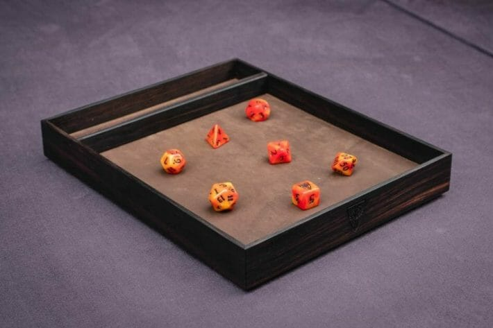13 Best Dice Trays for Tabletop Games (Review) – best dice trays for wargaming – Warhammer dice tray and storage – best dice tray for Warhammer 40k and miniature games – boardgame dice tray – best dice trays – dice trays for dungeons and dragons, D&D, and roleplaying games (RPG) – ebony wyrmwood dice tray expensive