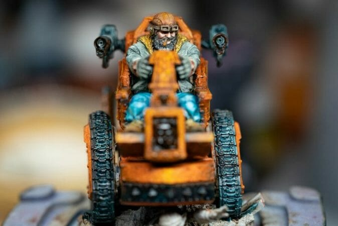 """Oil Painting """"Barnascus"""" (Judgement Miniatures) - How to Paint Tips - Why paint miniatures with oil paint – Barnascus Judgement Miniature – Miniature painting with oil colors – tips for painting miniatures with oil paint – oil painting miniature tutorial – metallic oil paints - front view wip"""