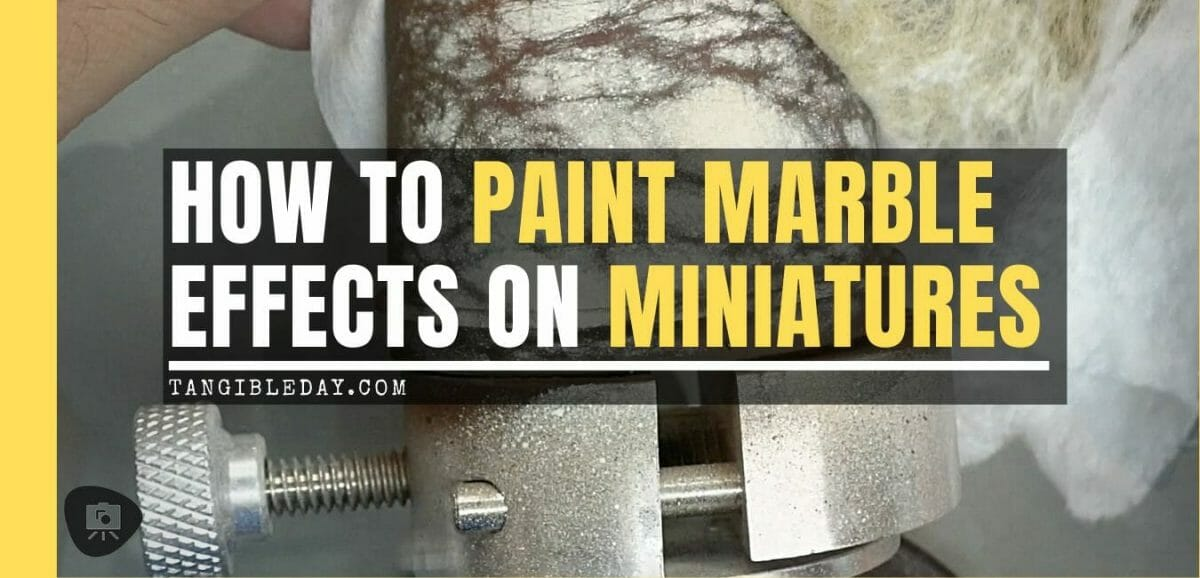 How to paint marble effects on miniatures – painting white marble – painting stone effect miniatures -how to paint marble on miniatures and models – airbrush stencil marble – marbleizing miniatures – airbrushing marble effect - title banner