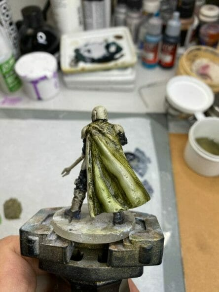 """Oil Painting the Star Wars """"Mandalorian"""" Alla Prima - how to paint a 3D printed resin model with oil paint - speed painting miniatures with oils - shading the cloak"""