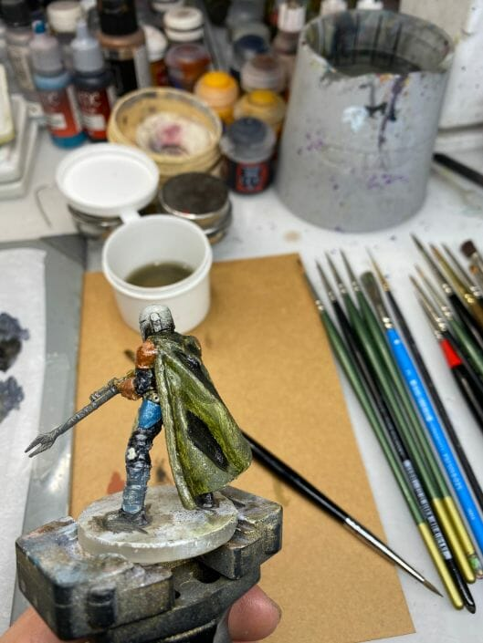 """Oil Painting the Star Wars """"Mandalorian"""" Alla Prima - how to paint a 3D printed resin model with oil paint - speed painting miniatures with oils - adding shadow"""