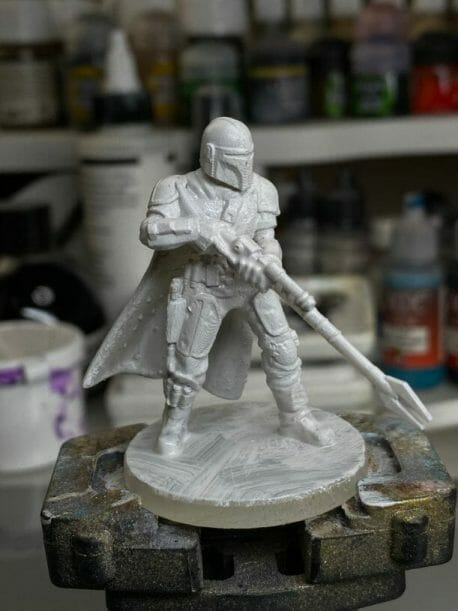 """Oil Painting the Star Wars """"Mandalorian"""" Alla Prima - how to paint a 3D printed resin model with oil paint - speed painting miniatures with oils - white primer is the best primer"""