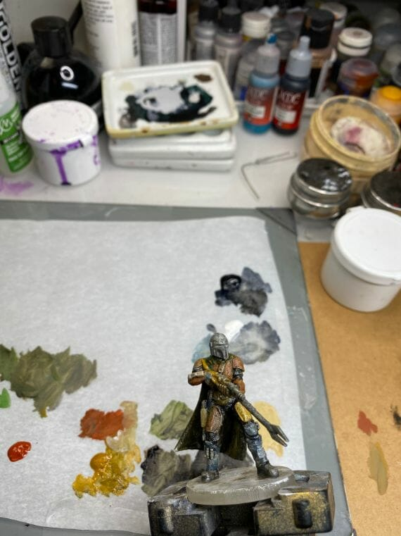 """Oil Painting the Star Wars """"Mandalorian"""" Alla Prima - how to paint a 3D printed resin model with oil paint - speed painting miniatures with oils - increasing contrast"""