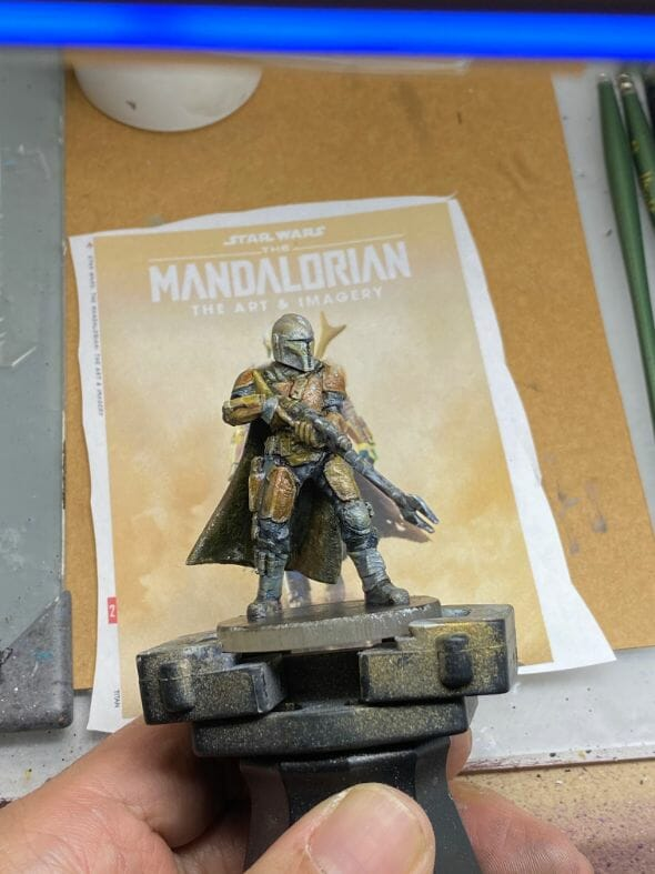 """Oil Painting the Star Wars """"Mandalorian"""" Alla Prima - how to paint a 3D printed resin model with oil paint - speed painting miniatures with oils - paint the details"""