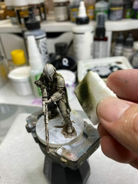 """Oil Painting the Star Wars """"Mandalorian"""" Alla Prima - how to paint a 3D printed resin model with oil paint - speed painting miniatures with oils - cleaning off the excess oil paints"""