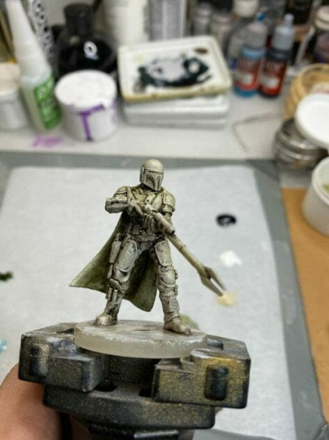 """Oil Painting the Star Wars """"Mandalorian"""" Alla Prima - how to paint a 3D printed resin model with oil paint - speed painting miniatures with oils - pre glazed model pops"""