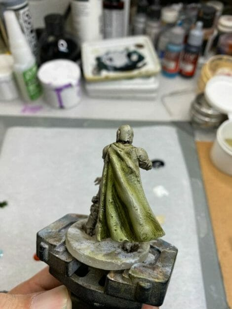 """Oil Painting the Star Wars """"Mandalorian"""" Alla Prima - how to paint a 3D printed resin model with oil paint - speed painting miniatures with oils - cloak green base"""