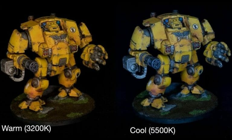 LED Ring light for miniature photography review - photography lighting - how lighting is important for photographing miniatures and models - Color temperature lighting differences on a primaris redemptor dreadnought model
