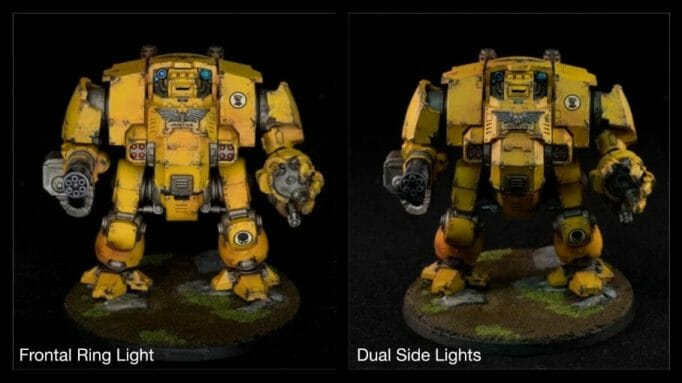 How to take better miniature pictures with a ring light - how to improve your miniature photography - why good light helps improve your miniature and model photography - imperial fist redemptor dreadnought space marine primaris photography