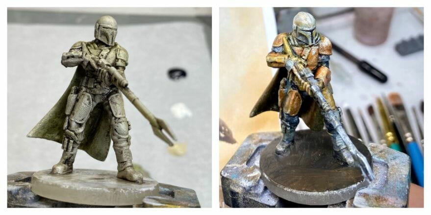 """Oil Painting the Star Wars """"Mandalorian"""" Alla Prima - how to paint a 3D printed resin model with oil paint - speed painting miniatures with oils - side by side"""