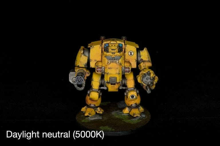 LED Ring light for miniature photography review - photography lighting - how lighting is important for photographing miniatures and models - daylight neutral 5000K light on a primaris dreadnought Imperial fists