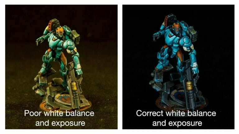 10 Simple Miniature Photography Tips - 10 Simple Tips for Photographing Miniatures and Models - How to improve your miniature photography with professional tips and tricks - overview of how to take better pictures of your miniatures and models - white balance adjustment