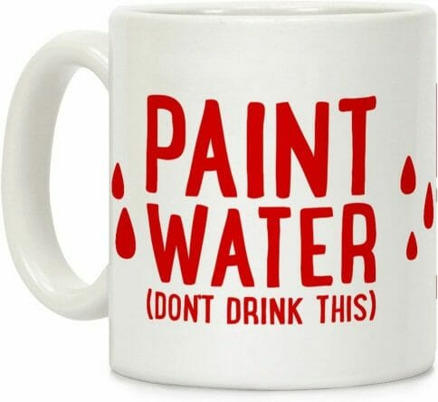 Best paint cups for painting miniatures and hobbies – how to use a paint puck to clean brushes – best water mug for miniature painting – paint brush cup for painting miniatures and models – do not drink paint water ceramic mug gift