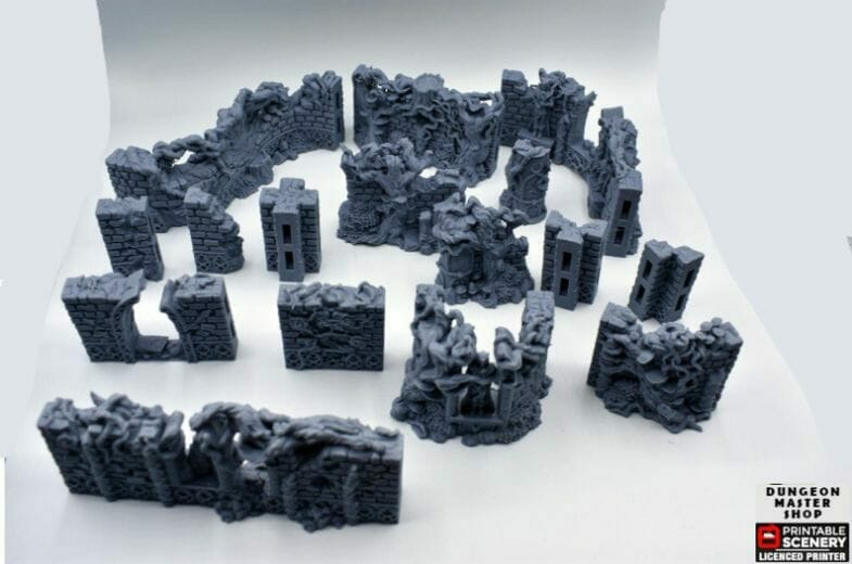 Best tabletop terrain on Etsy – Warhammer terrain – wargaming terrain – cool modular tabletop terrain – DIY wargaming terrain for 28mm games – RPG gaming terrain on Etsy - elven ruins