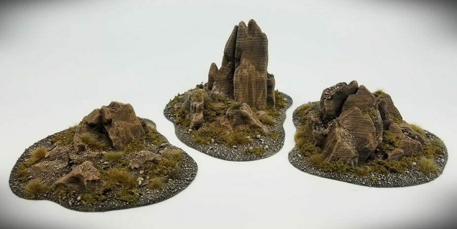 Best tabletop terrain on Etsy – Warhammer terrain – wargaming terrain – cool modular tabletop terrain – DIY wargaming terrain for 28mm games – RPG gaming terrain on Etsy - outcroppings stone landscape models rpgs dnd d&d games
