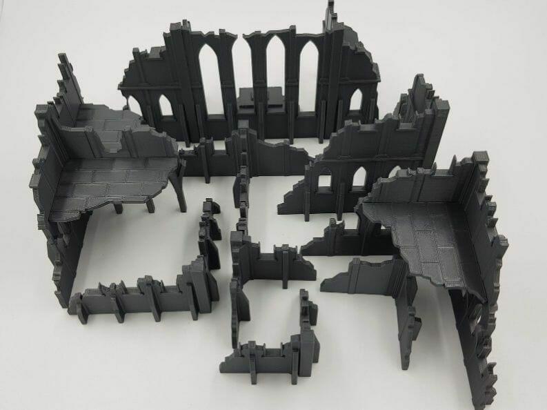 Best tabletop terrain on Etsy – Warhammer terrain – wargaming terrain – cool modular tabletop terrain – DIY wargaming terrain for 28mm games – RPG gaming terrain on Etsy - 3d printed warhammer ruins gothic