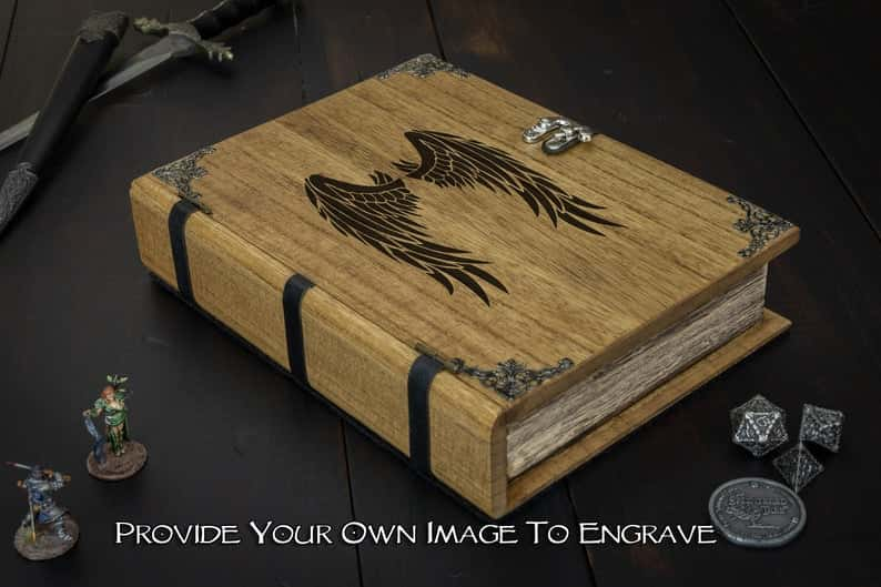 Custom Dice Trays for RPGS - custom dice tray for dnd - dungeons and dragons - custom dice rolling tray - customized dice trays - personalized custom dice trays for tabletop games and board gamers - spellbook dice box and tray